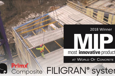 PrīmXComposite® - FILIGRAN® system receives Most Innovative Products (MIP) 2018 Winner Award, Materials for Concrete Construction, Industry choice.